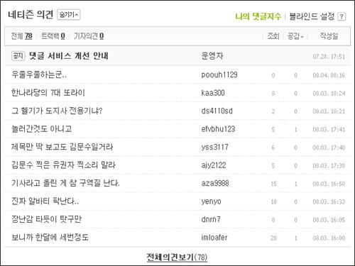 경기지사 소방헬기 보도에 달린 네티즌의 비난 댓글들