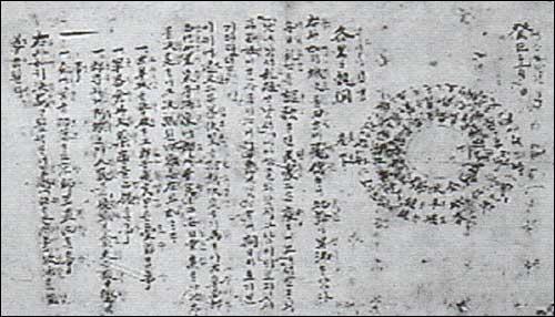 사발통문 동학농민혁명 당시 전봉준 등 20 명이 결의사항과 함께 사발 모양으로 둥굴게 서명한 문서