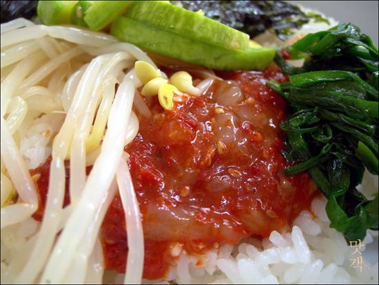 꽃게살무침 비빔밥