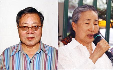 권오성과 이영희 항의 기자회견에서 격려발언을 하는 권오성 한양대 명예교수(왼쪽)와 이영희 한국국악협회 이사장