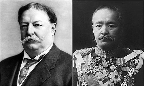 태프트(좌) 전 미국 전쟁부 장관과 가쓰라(우) 전 일본 총리대신.