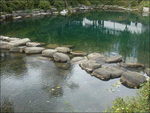 황지 그 아치교 아래 작은 연못 한 켠에는 돌다리가 놓여져 있다