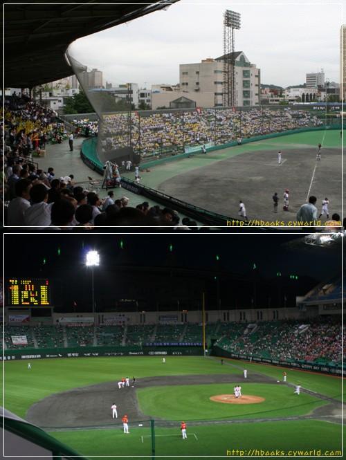 두 야구장 먼지처럼 사라지고 만 숭의동야구장(위). 새로운 인천야구 역사를 쓰고 있는 문학동야구장(아래)