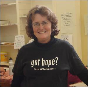 오바마 자원봉사자 총 책임자인 마리 리트만.