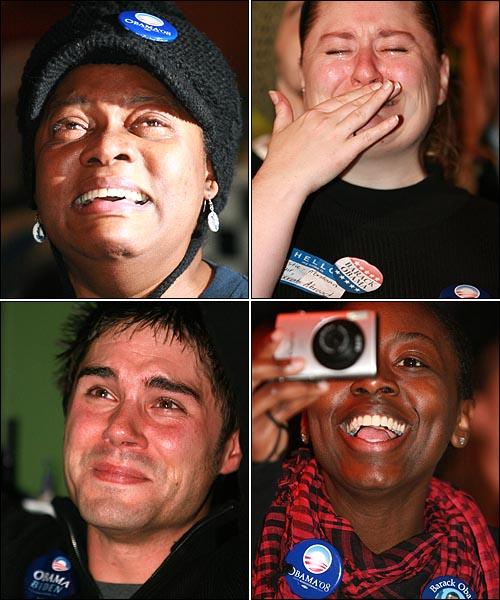 버락 오바마 민주당 후보가 제44대 미국대통령으로 당선된 5일 오후 서울 이태원 '해방촌'의 한 카페에서 열린 미국 민주당 한국지부 주최 파티에서 참석자들이 오바마의 당선 수락 연설 생방송을 지켜보며 감격의 눈물을 흘리거나 환호성을 지르며 기뻐하고 있다.