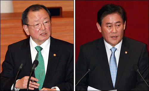 강만수 기획재정부 장관(왼쪽)과 최경환 한나라당 의원