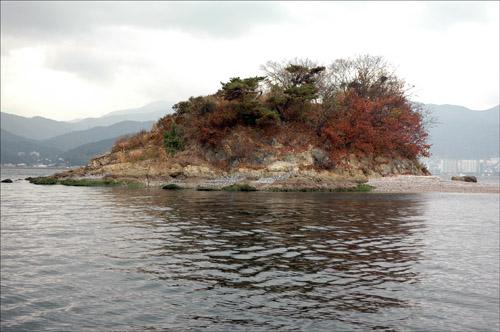 개구리섬 개구리섬에 가을이 물들고 있다