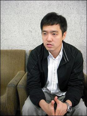 MBC 방송센터 지하면회실에서 만난 김세의 기자의 모습.