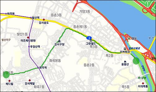 자전거로 신월5동에서 목동까지 이동했다.