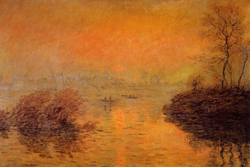 라바코트 세느강의 해넘이 (Sunset on the Seine at Lavacourt, Winter Effect), 1880, Musee du Petit Palais, France