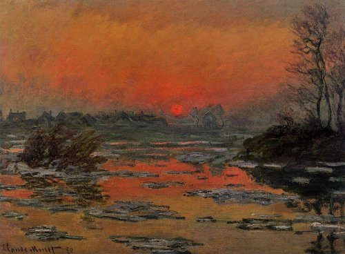 겨울 세느강의 해넘이(Sunset on the Seine in Winter) 1880, Private collection