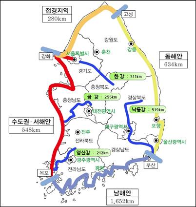 정부가 '녹색뉴딜' 정책 가운데 하나로 발표한 전국일주 자전거도로망 계획도. 총 길이가 3114km다. 남해안이 1652km로 가장 길며 동해안(634km), 서해안(345km), 접경지역(280km). 수도권(203km) 순이다. 4대강살리기 프로젝트(자전거길)는 1297km다.