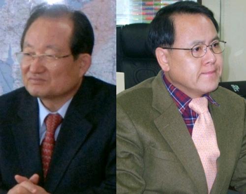 강희복(왼쪽) 아산시장과 이명수(오른쪽, 아산) 국회의원.