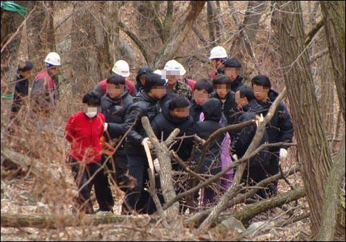 달비골 인근 주민과 시공사와 용역업체 직원들 간의 몸싸움