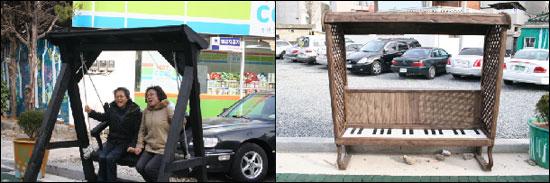 순천고, 순천여고 코스프레 동아이 '어스' 회원들이 디자인한 피아노 의자(우)