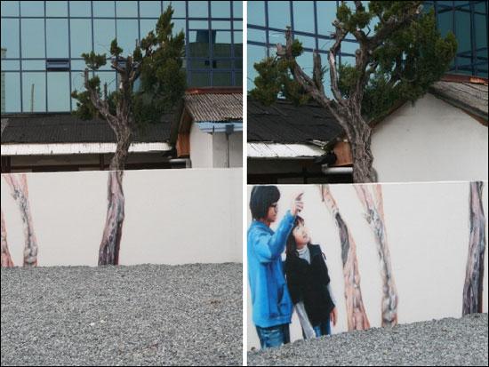 그림과 나무가 어우러진 벽화