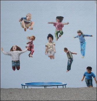 '점프'라는 제목이 붙은 벽화