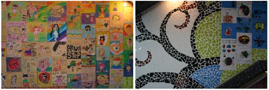 어린이 벽화(좌), 타일벽화(우)