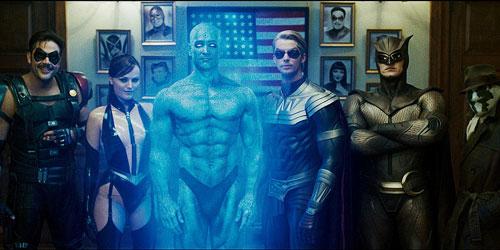 초영웅들의 기념촬영, 왼쪽부터 코미디언, 실크 스펙트라 투, 닥터 맨해튼, 오지맨디아스, 나이트 아울, 로샤크
