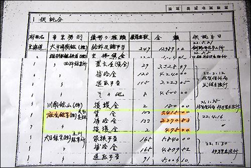 노란색 선 안이 아소탄광의 공탁금 내역이다. 왼쪽부터 사업장, 채무종류, 채권자수, 금액, 맨 오른쪽 숫자가 공탁일시를 나타낸다. 편의상 공탁금 내역 첫 장 위에 아소탄광이 적시된 페이지 기록을 덧댔다.