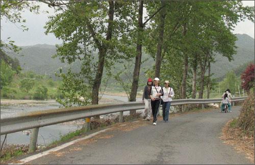 섬진강변 자전거 전용도로 윗길. 강변 풍경을 호흡하며 걷기에 제격이다.