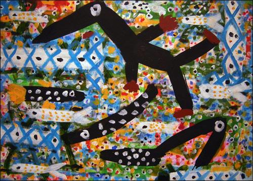 '물놀이' 캔버스에 혼합재료 100×141cm 2009