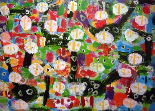 '즐거운 바보들' 캔버스에 혼합재료 159×220cm 2009