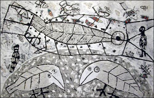 '지구의 어느 구석 아래서'  종이에 먹 159×220cm 1984. 과천국립현대미술관 소장품