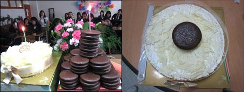 케이크 비교 처음엔 왼쪽과 같은 모습이었는데 나중에 건네받을 때는 오른쪽처럼 장식이 없어지고 대신 위에 파이를 얹어 주었다