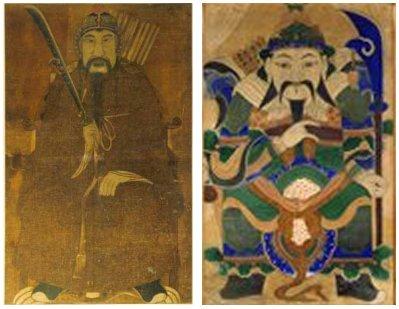 최영 장군 무신도 왼쪽은 국사당 소장(Copyright ⓒ 한국민족문화대백과) 오른쪽은 국립민속박물관 소장
