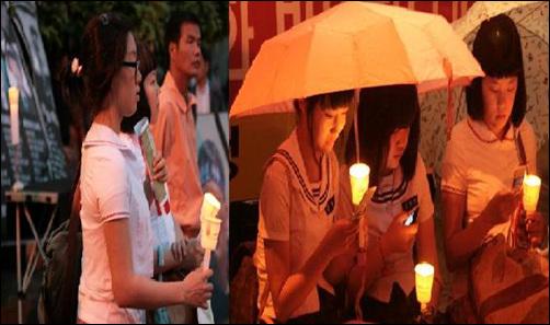 민주주의 수호를 위해 다시 나타난 촛불소녀, 6.10 민주항쟁 계승을 위한 촛불문화제에 다시 모습을 보인 촛불소녀들의 모습