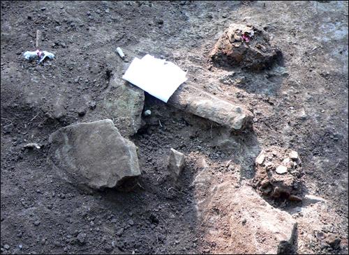 유해 부근에 널려 있는 돌덩이. 상단 푸른색이 탄피이고 오른쪽 둥근 형태는 희생자의 두개골이다.