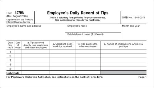 팁노동자가 세금납부를 위해 작성하는 '일일 팁 기록표.' 미국정부는 팁을 정식수입으로 간주해 세금을 부과한다.