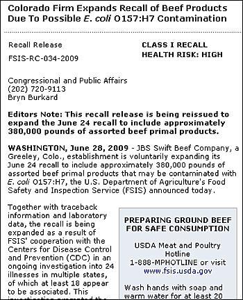 6월 28일, JBS 스위프트 비프 컴패니의 쇠고기 제품 172톤을 리콜하기로 한다는 FSIS 웹페이지