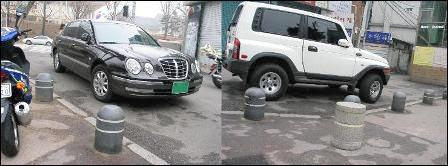볼라드가 있는 곳도 주정차를 막기 힘들다.
