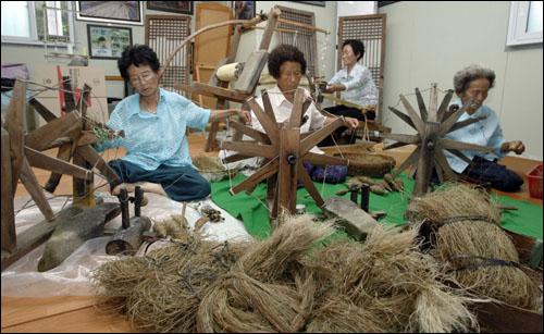 전남 보성의 한 농가에 마을 아낙들이 모여 삼베를 짜기 위한 물레질과 베짜기 작업을 하고 있다. 지난 7월말 찍은 것이다.