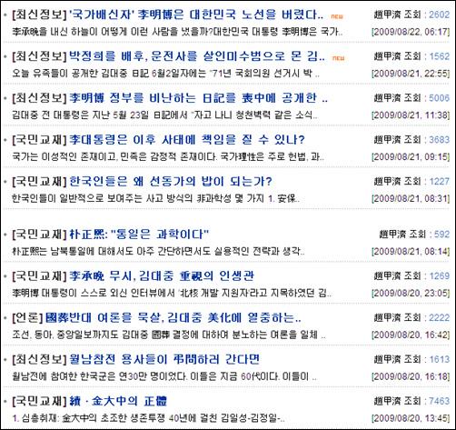 조갑제씨 글들 김대중 전 대통령 서거 후 <조갑제닷컴>에 올려진 글들.