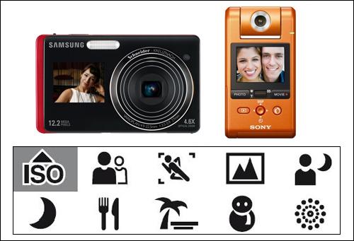 전 세계적으로 인터넷은 자기표현의 주요 수단으로 자리 잡았다. '셀카'를 쉽게 찍도록 만든 카메라는 이런 조류를 잘 반영하고 있다. 왼쪽 위의 제품은 삼성의 '듀얼뷰' 카메라로, 카메라 앞과 뒤에 모두에 디스플레이 장치들 달고 있다. 오른쪽의 휴대용 소니 캠코더는 렌즈를 촬영자 방향으로 돌릴 수 있게 되어 있다. 밑의 이미지는 디지털 촬영 설정 메뉴로, 불꽃놀이나 음식 촬영처럼 일상위주의 기능을 담고 있는 것을 볼 수 있다.