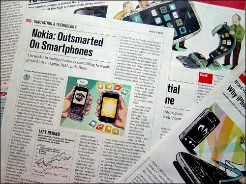낡은 노키아, '찌그러진' 삼성. 휴대폰이 하드웨어에서 소프트웨어로 이동하면서 기존에 비교우위를 누리던 기업들이 위기를 맞고 있다. 사진은 <비즈니스위크>의 기사들로, 애플이 가져온 혁명적 변화로 인해 기존의 휴대폰 업계들이 위협받고 있다고 분석하고 있다. 왼쪽 기사는 노키아 주식 하락을 보도하고 있고, 오른쪽 기사들은 삼성이 아이폰의 외형은 흉내내고 있으나, 열악한 소프트웨어로 인해 경쟁력을 갖추지 못하고 있다고 보도하고 있다. 오른쪽 상단의 '바람 빠진' 휴대폰과 하단의 '우울한' 휴대폰은 모두 삼성의 스마트폰을 지칭한다. 외신에는 일상적으로 등장하는 이런 분석 기사를 국내언론에서는 접하기 어렵다.