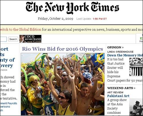브라질 리우데자네이루의 2016 하계올림픽 유치를 보도하는 <뉴욕타임스>