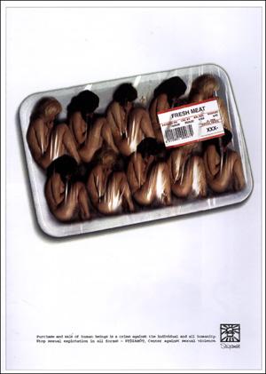 성매매 반대 광고 'Fresh Meat'. 성을 '매매 대상으로서의 성'이 아닌 '인권으로서의 성'으로 바라보는 개인 및 사회의 인식이 요구된다.