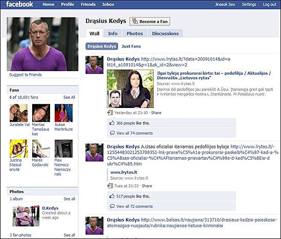 드라슈스 케디스가 운영하는 개인 페이스북 초기화면. 10월 15일 현재 약 만 9천명이 팬으로 가입되어 있다.