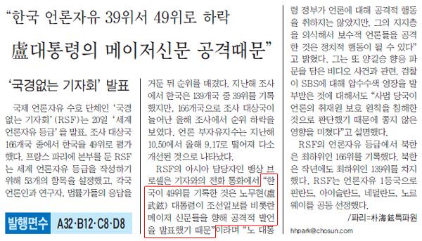 조선일보 2003년 10월 21일 1면