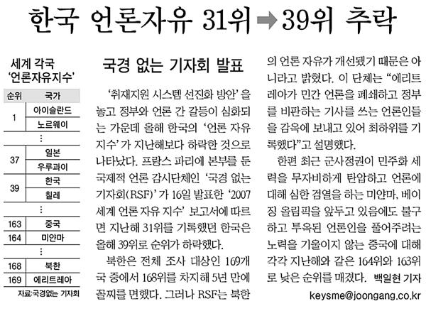 중앙일보 2007년 10월 17일 6면 기사