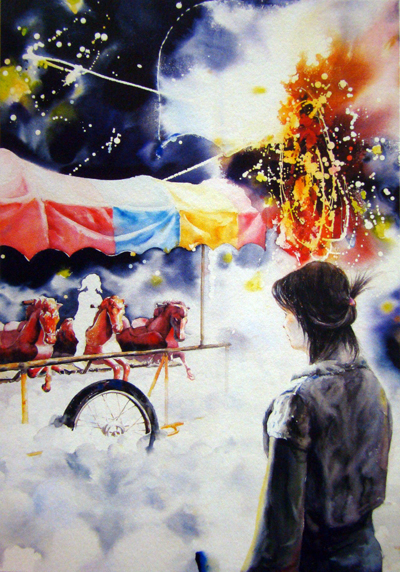 Reminiscence-소녀의 꿈 말탄 소녀를 쳐다보는 그림 속 소녀는 유년의 순구함을 추억하는 화가 자신이다.