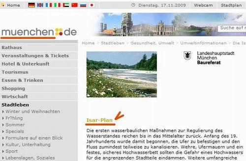 이자강 복원을 홍보하는 독일 뮌헨시청 홈페이지 독일 뮌헨시청 홈페이지에 수로를 자연하천으로 복원한 이자강의 사례를 많은 사진과 함께 홍보하고 있습니다. 되살아난 멋진 이자강의 사진을 더 보기 원하시는 분은 뮌헨 시청 홈페이지를 방문해보십시요.