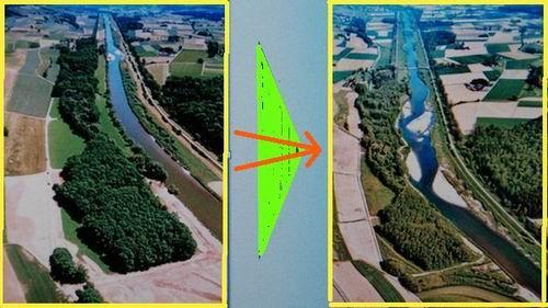 수로에서 자연하천으로 복원한 스위스 투어강 직선형 수로였던 투어강이 모래섬과 여울이 있는 자연하천으로 복원되었습니다. 이게 바로 강 살리기입니다. 그렇다면 4대강은 살아있는 아름다운 강입니다.