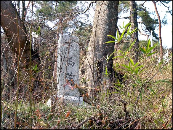 하마비 송정을 오르는 오솔 길가에 서 있는 하마비