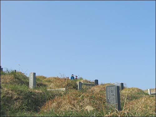 공동묘지 전망대 공동묘지에서 풍경을 감상하는 올레꾼