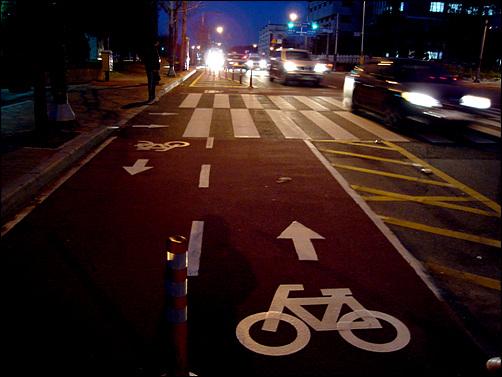 시청인근 자전거 전용도로, 인도쪽 차선을 줄여 교통흐름을 방해했다.
